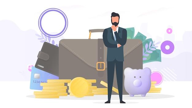 Uomo d'affari di successo. portafoglio grande, carta di credito, monete d'oro, dollari. concetto di profitto, cashback o ricchezza. banner sul tema della finanza. vettore.