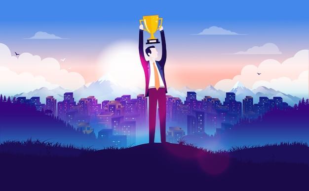 Imprenditore di successo che tiene un trofeo sopra la sua testa davanti al paesaggio urbano
