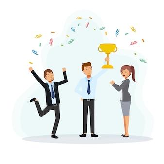 Imprenditore di successo in possesso di un trofeo che circonda dai colleghi che sono venuti a congratularsi. illustrazione del personaggio dei cartoni animati di vettore piatto.