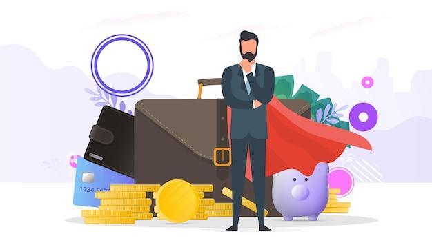 Uomo d'affari di successo. una grande valigia, portafoglio, carta di credito, monete d'oro, dollari. il concetto di profitto, cashback o ricchezza. banner sul tema della finanza. vettore.