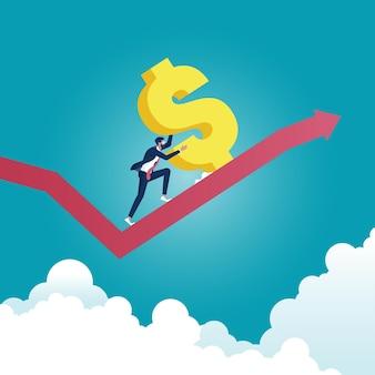 Imprenditore di successo spingendo il grande segno del dollaro fino alla freccia. ricchezza, successo finanziario, concetto.