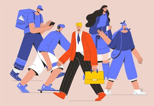 Imprenditore di successo che cammina contro il flusso della folla