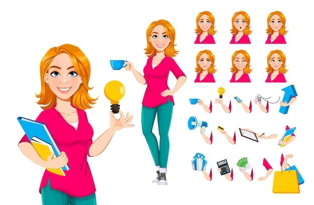 Imprenditrice di successo. simpatico personaggio dei cartoni animati di donna d'affari, confezione di parti del corpo, emozioni e cose. illustrazione vettoriale d'archivio.
