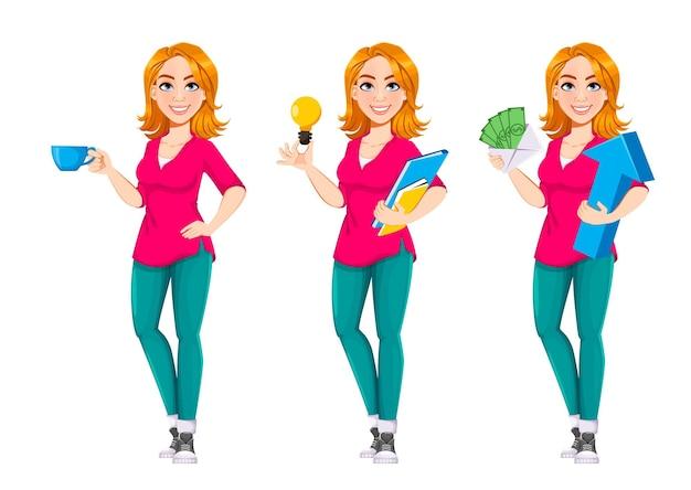 Donna d'affari di successo set di tre pose di personaggi dei cartoni animati carino donna d'affari