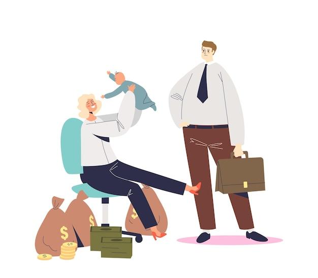 Madre di successo imprenditrice felice insieme al bambino seduto in sedia da ufficio. scegliere tra carriera e concetto di genitorialità. cartoon illustrazione piatta