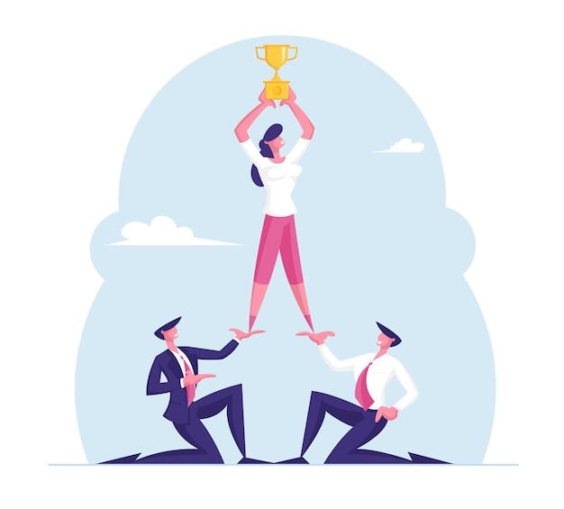 Piramide di uomini d'affari di successo di dream team, sviluppo aziendale e lavoro di squadra