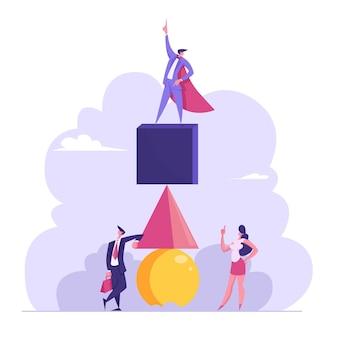 Successo dream team concept. uomo d'affari in mantello rosso da supereroe stare in cima