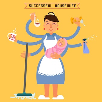 Riuscita casalinga. donna di successo donna multitasking. moglie perfetta super-mamma. madre multitasking. donna con bambino illustrazione vettoriale stile piatto