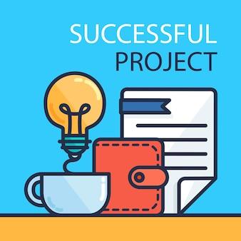 Concetto di investimento di successo. tenuta bancaria. banner di bilancio finanziario. soldi da idea, documento. simbolo di brevetto. vettore