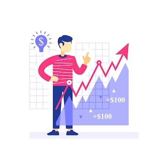 Investitore di successo, freccia di crescita, strategia di investimento, portafoglio del mercato azionario, aumento dei ricavi, guadagni di più, gestione finanziaria, hedge fund, asset allocation, illustrazione piatta