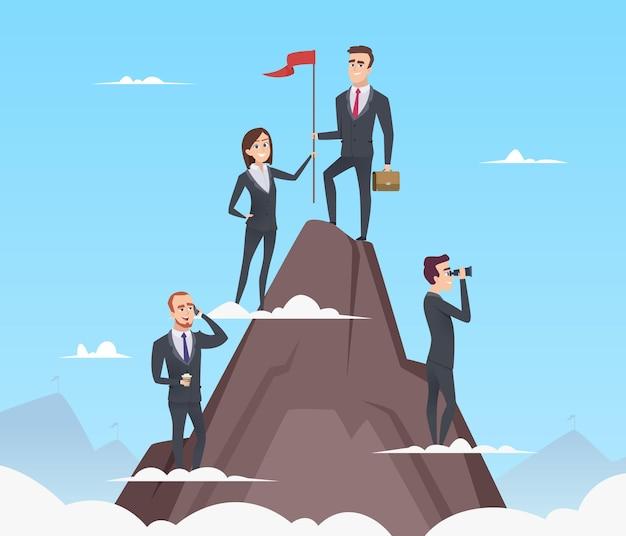 Gestione di successo. crescita aziendale fino pianificazione marketing team building buona strategia fiducioso concetto.