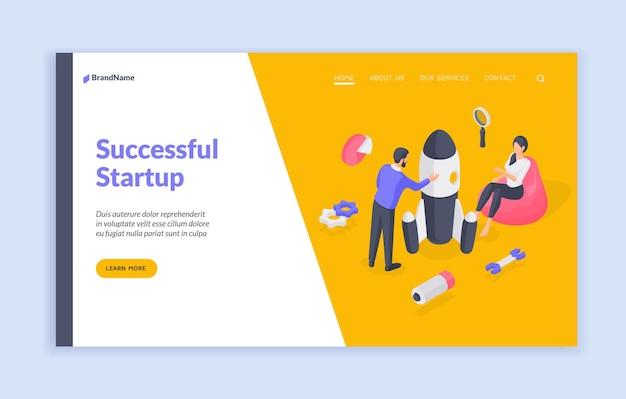 Modello di banner della pagina di destinazione di avvio di successo