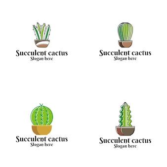 Logo vettoriale succulente cactus
