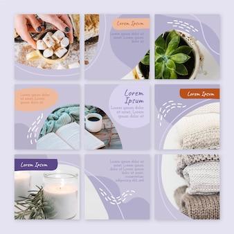Feed di puzzle instagram di piante succulente e caffè