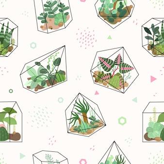 Piante grasse. modello senza cuciture di fiori tropicali estivi, terrario e cactus. trama di piante del deserto disegno alla moda. sfondo vettoriale verde. illustrazione cactus e pianta d'appartamento, incarto del modello