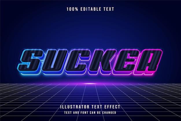 Sucker, 3d testo modificabile effetto blu viola rosa neon stile futurista