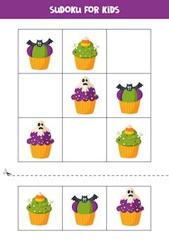 Gioco di sudoku per bambini con cupcakes di halloween dei cartoni animati.