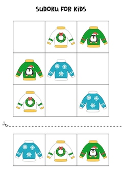 Gioco di sudoku per bambini con maglioni natalizi.