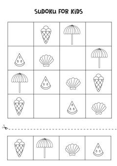 Gioco di sudoku per bambini con simpatici elementi estivi in bianco e nero.