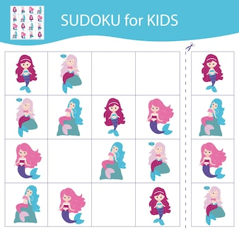 Gioco di sudoku per bambini con immagini. sirenette dei cartoni animati. vettore.
