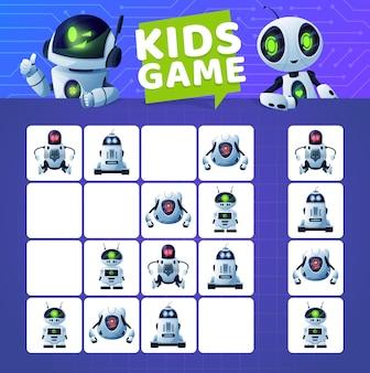 Gioco di sudoku con robot e droidi dei cartoni animati. gioco di puzzle del blocco di istruzione dei bambini di vettore, indovinello di logica o labirinto sul fondo del circuito con robot bianchi moderni, robot di intelligenza artificiale, androidi