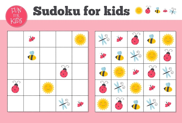 Sudoku. mosaico matematico per bambini e adulti. quadrato magico. gioco di puzzle logico. rebus digitali. foglio di lavoro di intrattenimento prescolare del gioco di sudoku educativo dell'illustrazione di vettore. puzzle stampabile.