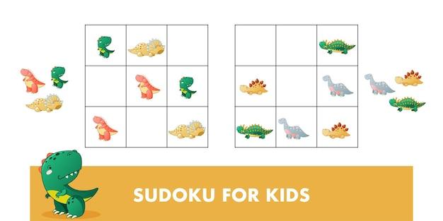 Sudoku per bambini gioco educativo per bambini con dinosauro simpatico cartone animato illustrazione