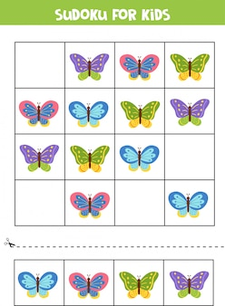 Sudoku per bambini. belle farfalle carine.