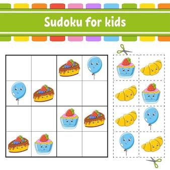 Sudoku per bambini foglio di lavoro per lo sviluppo dell'istruzione pagina delle attività con immagini