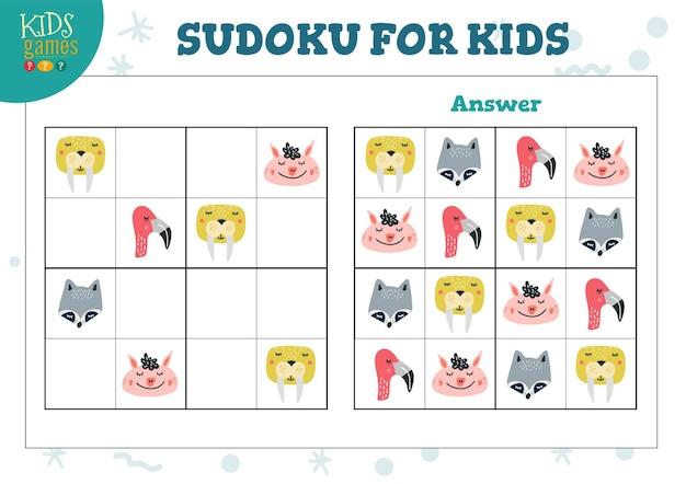 Sudoku per bambini gioco educativo. attività logica labirinto con risposta
