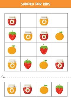 Sudoku per bambini in età prescolare. gioco di logica con barattoli di marmellata di cartoni animati e frutta.