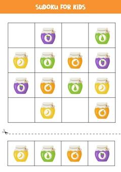 Sudoku per bambini in età prescolare. gioco di logica con vasetti di marmellata colorati.