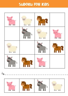Sudoku per bambini in età prescolare. gioco di logica con simpatici animali da fattoria.