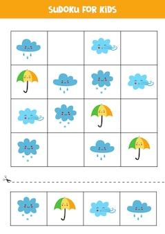 Sudoku per bambini in età prescolare. gioco logico con graziosi elementi meteorologici.