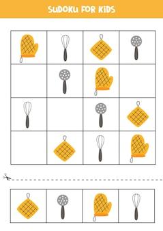 Sudoku per bambini in età prescolare. gioco di logica con utensili da cucina.