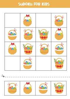 Gioco di puzzle di sudoku con cesti di pasqua del fumetto con uova e fiori.