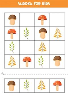 Puzzle di sudoku per bambini. set di foglie autunnali e funghi.