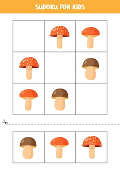 Sudoku con tre immagini per bambini in età prescolare. gioco logico con foglie d'autunno e funghi.