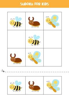 Sudoku con tre immagini per bambini in età prescolare. gioco di logica con simpatici insetti.