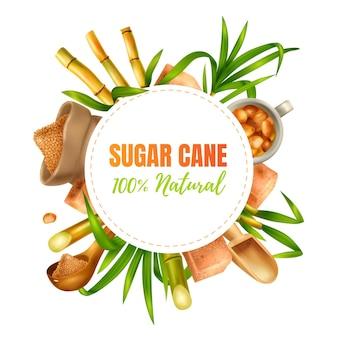 Concetto di design realistico della canna da zucchero con illustrazione dei simboli di produzione e produzione