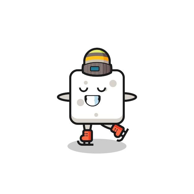 Cartone animato zolletta di zucchero come un giocatore di pattinaggio sul ghiaccio che si esibisce, design in stile carino per maglietta, adesivo, elemento logo