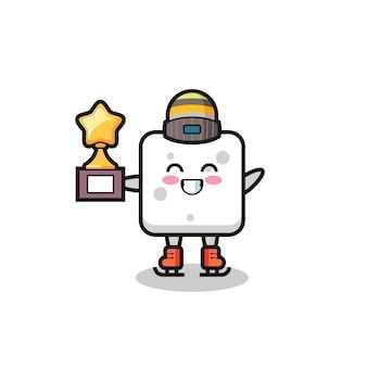 Il fumetto della zolletta di zucchero come un giocatore di pattinaggio sul ghiaccio tiene il trofeo del vincitore, un design carino in stile per t-shirt, adesivo, elemento logo
