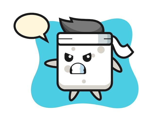 Illustrazione del fumetto del cubo dello zucchero come combattente di karatè, stile sveglio per la maglietta, autoadesivo, elemento di logo