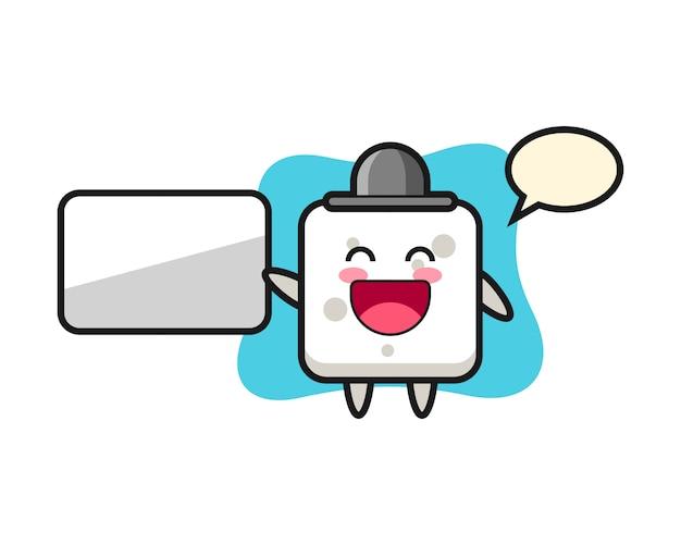 Illustrazione del fumetto del cubo dello zucchero che fa una presentazione, stile sveglio per la maglietta, autoadesivo, elemento di logo