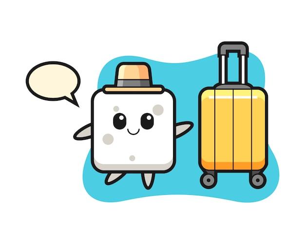 Illustrazione del fumetto del cubo dello zucchero con bagagli in vacanza, stile sveglio per la maglietta, autoadesivo, elemento di logo