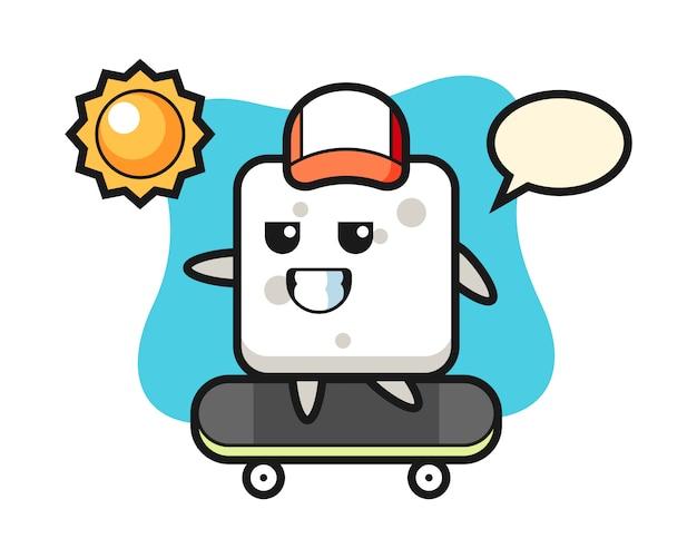 Illustrazione di carattere del cubo di zucchero cavalcare uno skateboard, stile carino per t-shirt, adesivo, elemento logo
