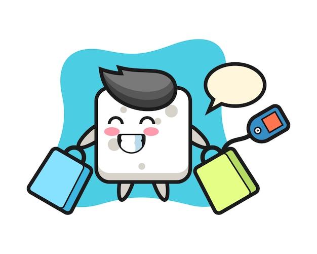 Fumetto della mascotte del cubo dello zucchero che tiene un sacchetto della spesa, stile sveglio per la maglietta, adesivo, elemento di logo