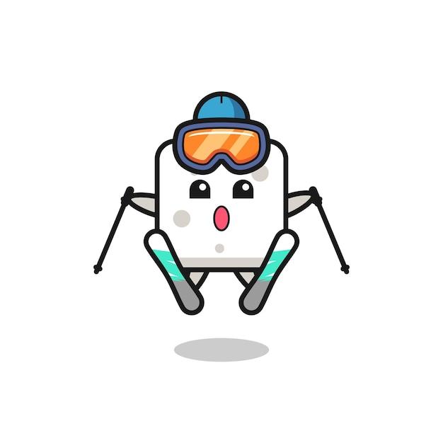 Personaggio mascotte zolletta di zucchero come giocatore di sci, design in stile carino per maglietta, adesivo, elemento logo