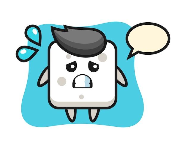 Personaggio mascotte zolletta di zucchero con gesto impaurito, stile carino per maglietta, adesivo, elemento logo
