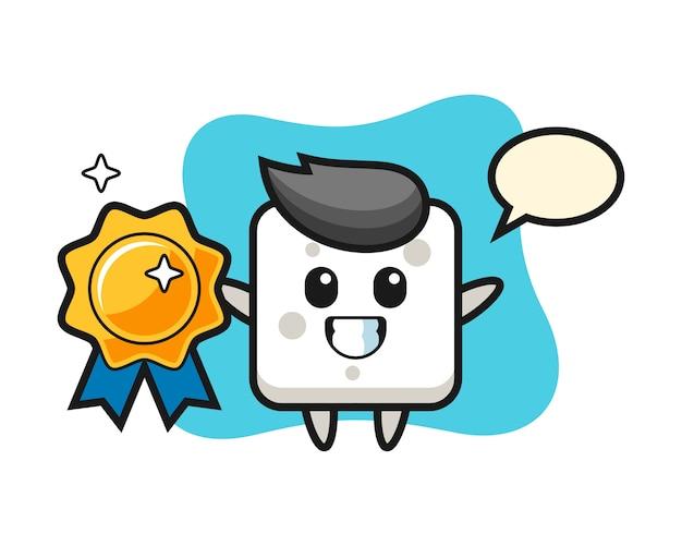 Illustrazione della mascotte del cubo dello zucchero che tiene un distintivo dorato, stile sveglio per la maglietta, autoadesivo, elemento di logo